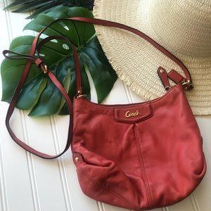 Coach Orange Red /Coral Leather Shoulder Bag